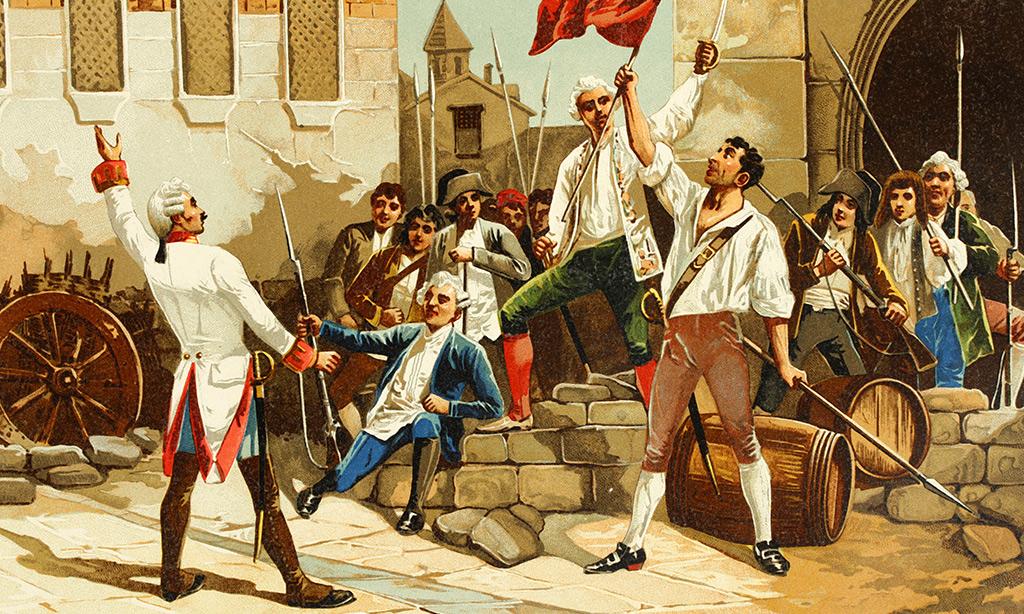 Ein historisches Bild auf dem Männer mit ihren Waffen zu sehen sind und eine rote Fahne in der Luft schwenken.