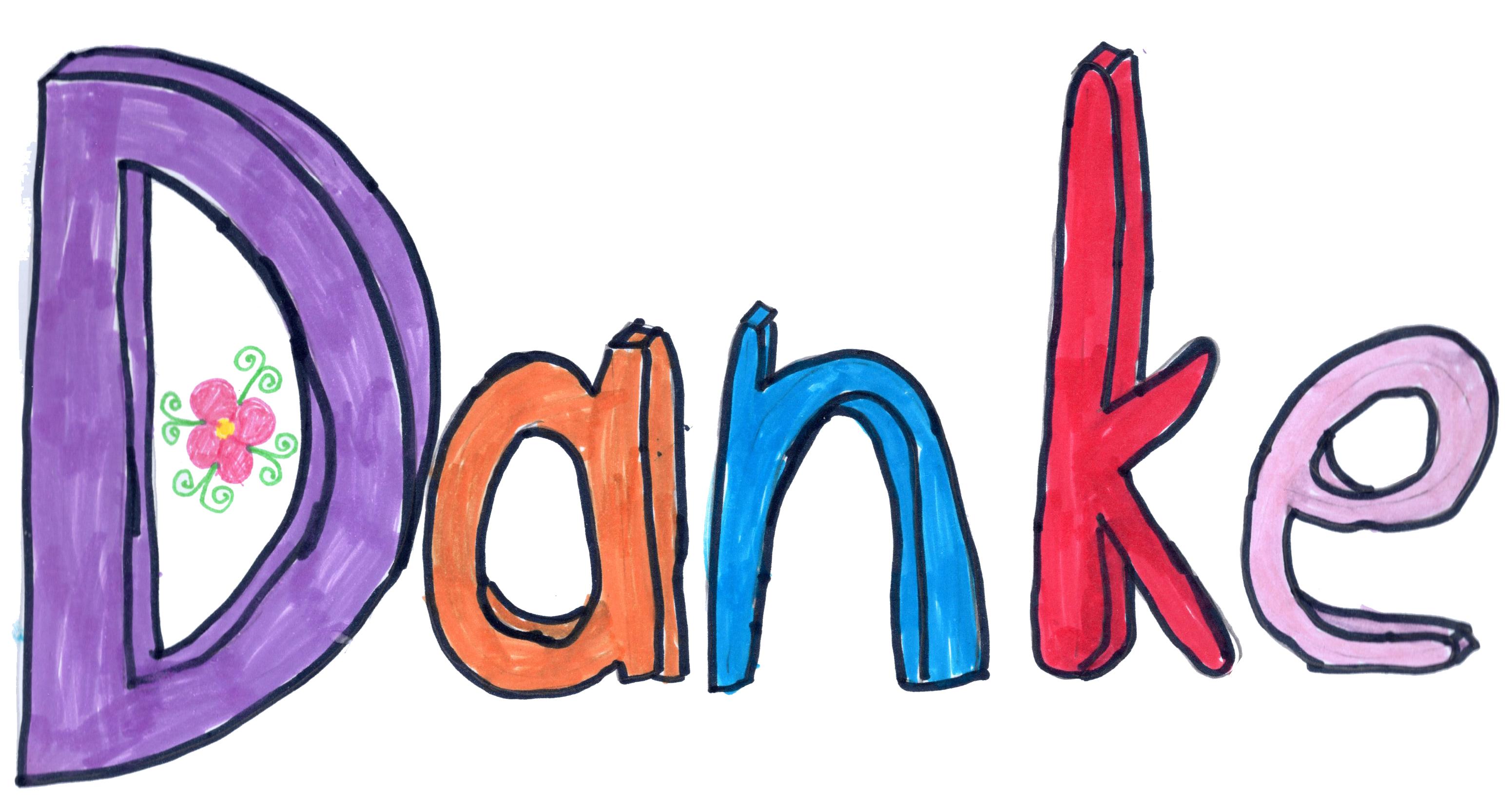 """Das Wort """"Danke"""" wurde mit Buntstiften ausgemalt."""